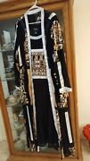 Plus Size Xxl Black Gold And White 2pc Formal Gown And Coat Ashro