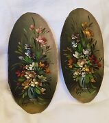 Lot Of 2 - Antique Miniature Paintings ,signed. Oil , Beautiful , Floral Vases