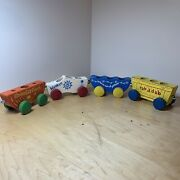 Vintage 1950andrsquos Usa Made Holgate Fairyland Train Cars Wooden Pull Along 4 Piece
