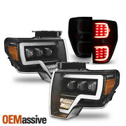 For 09-14 Ford F150 Full Led Projector Headlights+light Bar Black Smoke Taillamp