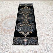 Yilong 2and039x6and039 Black Handknotted Silk Hallway Rug Runner Gallery Carpet Ywx174a