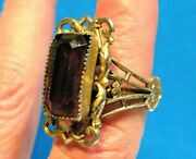 Gold And Silver Amethyst Costume Ring Adjustable 25 Mm Wide Vintage