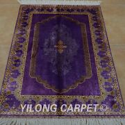 Yilong 2.7and039x4and039 Handwoven Silk Purple Rug Home Decor Antistatic Carpet 0515