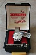 Vintage 1960and039s Mens Helbros Dress Watch With Box Swiss 17 Jewels New Old Stock