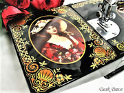Rare Singer Featherweight 221 Sewing Machine Victorian Red Lady Portraits.