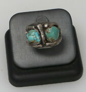 Antique Sterling Silver 925 Old Pawn Turquoise Ring 13.4 Grams Size 11.5