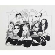 Al Hirschfeld's Star Trek Voyager Hand Signed Limited Edition Lithograph