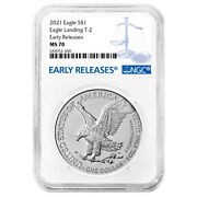 2021 1 Type 2 American Silver Eagle Ngc Ms70 Blue Label Er Reverse