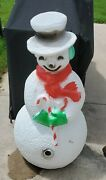 Vintage 40 Union Products Dimple Snowman Blow Mold Christmas Red Scarf Lighted