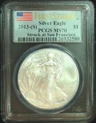 2013-s Pcgs Ms70 Silver Eagle First Strike