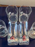 Vintage Drinking, Water Glasses Tumblers Farmhouse Red Barn, And A Black Bird.