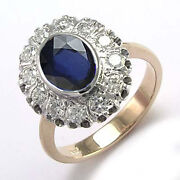 14k Rose And White Gold Genuine Sapphire And Diamond G/si1 Russian Style 2090.00
