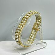 Vintage Honora 14k Yellow Gold Braided Rope And Gray Pearl Four-stranded Bracelet