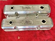 Vintage Polished Weiand Ford Fe Aluminum Finned Valve Covers 352 390 427 428