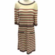 Coco Mark Knit Dress Women 's Button Border Ivory Red Black P45686 _79295