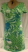 Vintage Lily Pulitzer Womens Size Xs Short Sleeve Floral Green Polo Dress