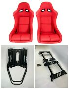 Pair 2 F1spec Type 5 Red Cloth Racing Bucket Seats Jdm For Wrx 2015+