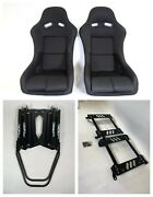 Pair 2 F1spec Type 5 Red Cloth Racing Bucket Seats Jdm For Wrx 08-14