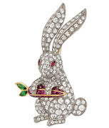 Black Friday 3.28ct Round Diamond Ruby Emerald 14k Solid White Gold Bunny Brooch