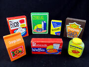Lot Of 7 Vintage Wooden Toy Food Cans Box Kitchen Grocery Supermarket Store Play