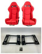 Pair 2 F1spec R1 Red Cloth Racing Reclinable Seats With Sliders Honda Eg 92-95