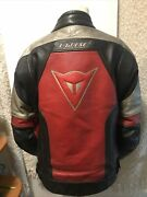 Dainese Leather Motorcycle / Enduro / Street Bike Quality Thick Jacket Black Red