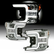 For 2018-20 Ford F150 Led Neon Tube Drl Projector Headlight Chrome Driving Lamp