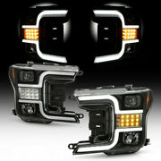 Black Clear Projector Headlight Led Sequential Lamp For 18-20 Ford F150 Halogen