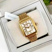 Michele Deco Madison Mid 16 Gold And Diamond Watch Mw06g00a9120 2295 100 Auth.