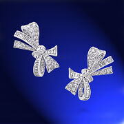 2.53ct Natural Diamond 14k Solid White Gold Screw Back Bow Stud Earrings