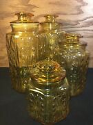 Rare Set Of 4 Vintage Amber Yellow Apothecary Glass Jar Canister Hexagon S-m-l