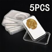 5pcs Coin Holder White Container Transparent Foam Slab Boxes Protector 30mm Pcgs