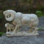 Double Goats Carving 81mm Length T305 In Moose Antler Hand Carved