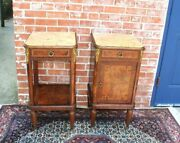 Pair Of French Antique Marble Top Louis Xvi Inlaid Walnut Nightstand