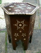 Tall Outstanding Antique Islamic Hexagonal Wooden Inlaid Side Table