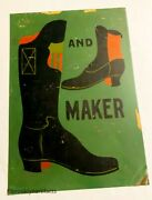 Antique American Folk Art Hand Painted Advertising 'boot Maker' Trade Sign