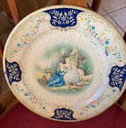 Antique Vienna Art Plate, Beret Bw Ware, The Love Letter , Vintage Tin Art And
