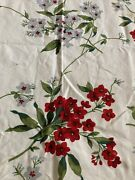 """Vintage Wilendur Phlox Tablecloth Red And Gray Flowers 41"""" By 45"""""""