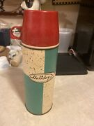 Vintage Holiday Vacuum Thermos Bottle Pint Size W/cup And Stopper Plastic 60's