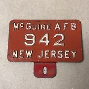 1940s Mcguire Afb Air Force Base New Jersey Military License Plate Topper Rare