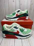 Nike Air Max 90 Nordic Christmas Sweater Mens Size 14 Green Red Dc1607-100