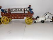 Vintage Collectible Cast Iron Horse Drawn Hook And Ladder Fire Wagon 14 By 5