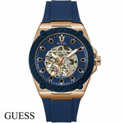 Guess W1247g2 Legacy Automatic Rose Gold Blue Silicone Men's Watch New