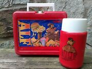 Vintage 1987 Alf Red Lunchbox With Thermos Fast Food Alien Life Form Plastic