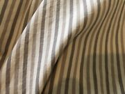 Antique Vtg Primitive French Country Stripe Cotton Fabric Taupe Brown Patina