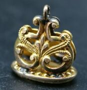 Antique Victorian Solid 10k Yellow Gold Wax Seal Watch Fob Charm O3e