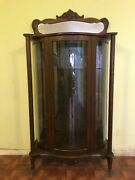 Late 1800s Antique Oak Victorian Curved Glass China Cabinet Closet-needs Restore