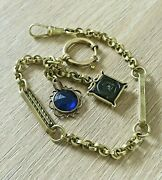 Art Deco Rolled Gold Watch Chain 25 Cm Long Glass Fobs Rare Collectible 1920s