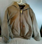 Men's Grey Lined Work Jacket With Hoodie Size Large L