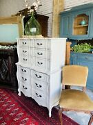 Vintage French Provincial Tall Dresser Chest Of Drawers Antique White